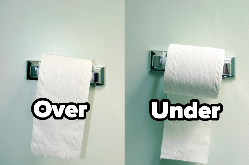 "Two toilet paper rolls with the words ""over"" and ""Under"""