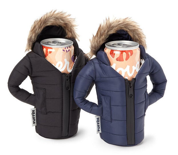 seltzer cans in the black and navy holders, which look like zip up parkas with furry hoods