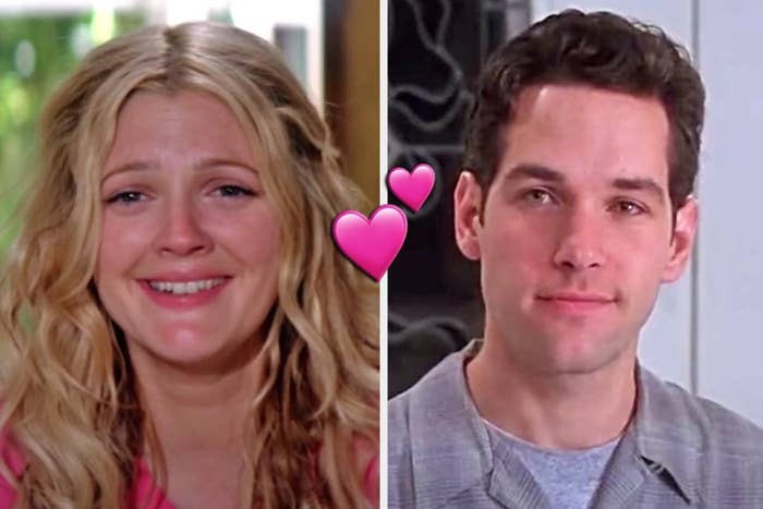 "On the left, Drew Barrymore as Lucy in ""50 First Dates,"" and on the right, Paul Rudd as Josh in ""Clueless"" with a double heart emoji in the middle"