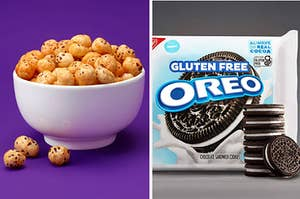 two panels showing a bowl of popped water lily seeds and a pack of gluten-free Oreos
