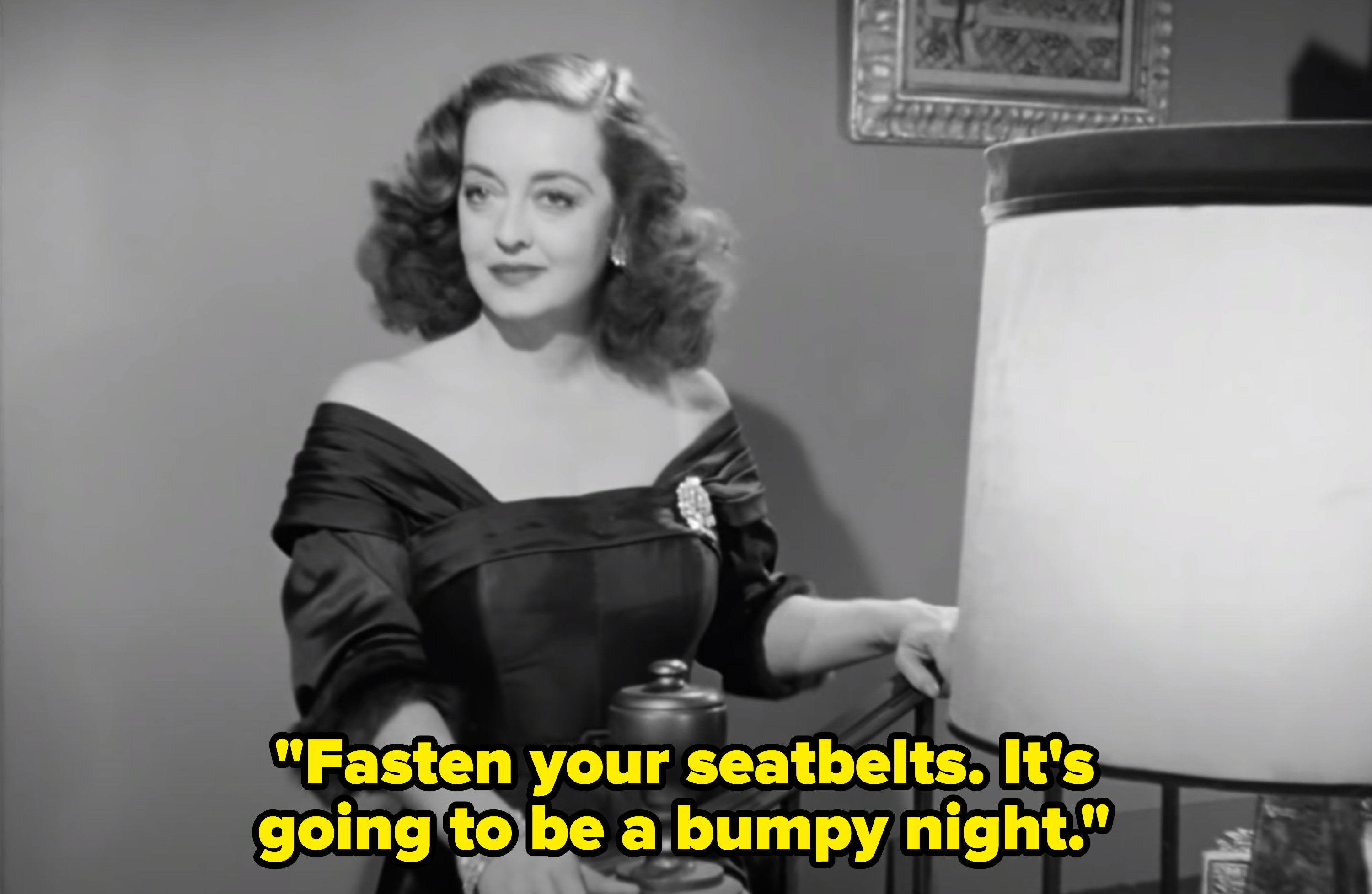 """Margo telling the party: """"Fasten your seatbelts. It's going to be a bumpy night"""""""