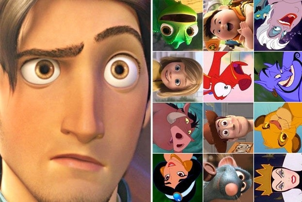 Flynn Ryder looking confused and many small Disney images
