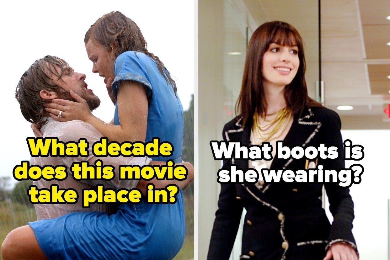 """The Notebook"" with the words ""What decade does this movie take place in?"" and ""Devil Wears Prada"" with the words ""What boots is she wearing?"""