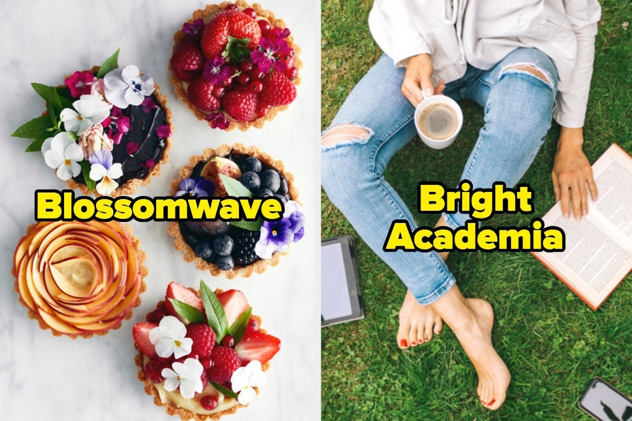 "Fruit tarts with the word ""Blossomwave"" and reading in the grass with the words ""Bright academia"""
