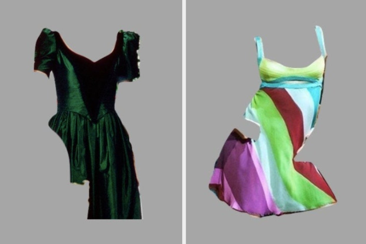 the green dress from when harry met sally on the right and the multi-colored dress from 13 going on 30 on the right
