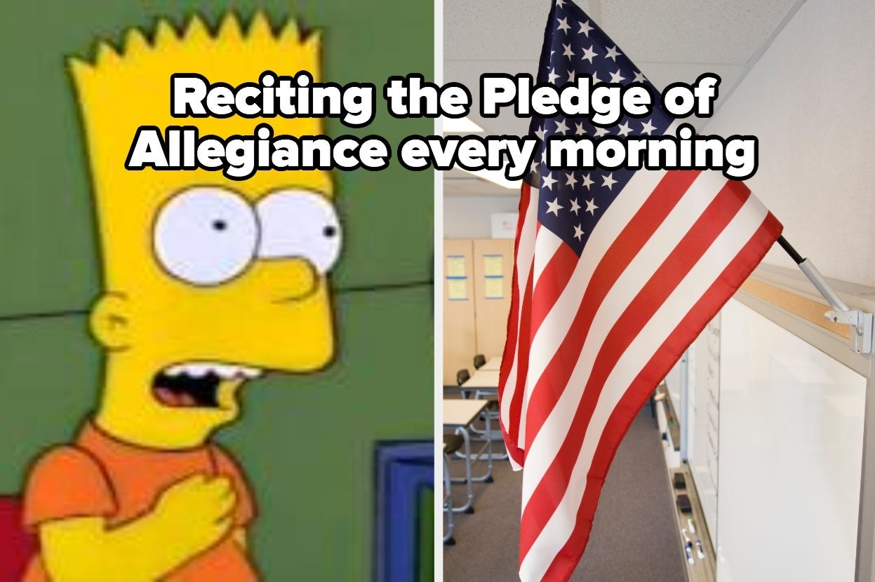 "Bart Simpson pledging to flag labeled ""Reciting the Pledge of Allegiance every morning"""