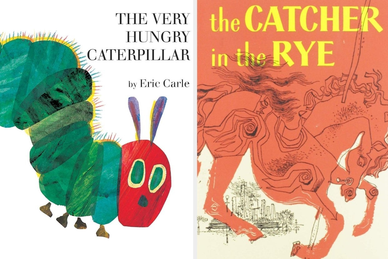 Side-by-side images of The Very Hungry Caterpillar and The Catcher in the Rye