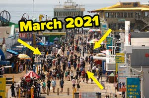 A really crowded pier labeled March 2021