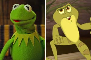 """On the left, Kermit the Frog, and on the right, Prince Naveen from """"The Princess and the Frog"""" as a frog"""