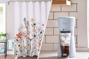A split photo of a floral shower curtain and an iced coffee maker
