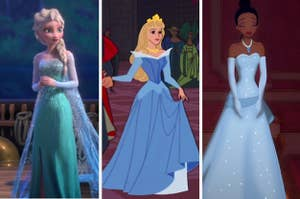 Elsa, Aurora, and Tiana all in their cool-colored gowns
