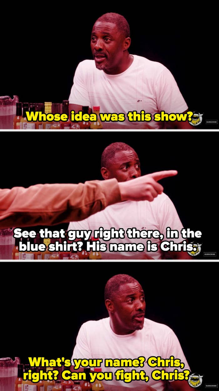 """Idris sweating and asking the creator of the """"Hot Ones"""" show if he can fight"""