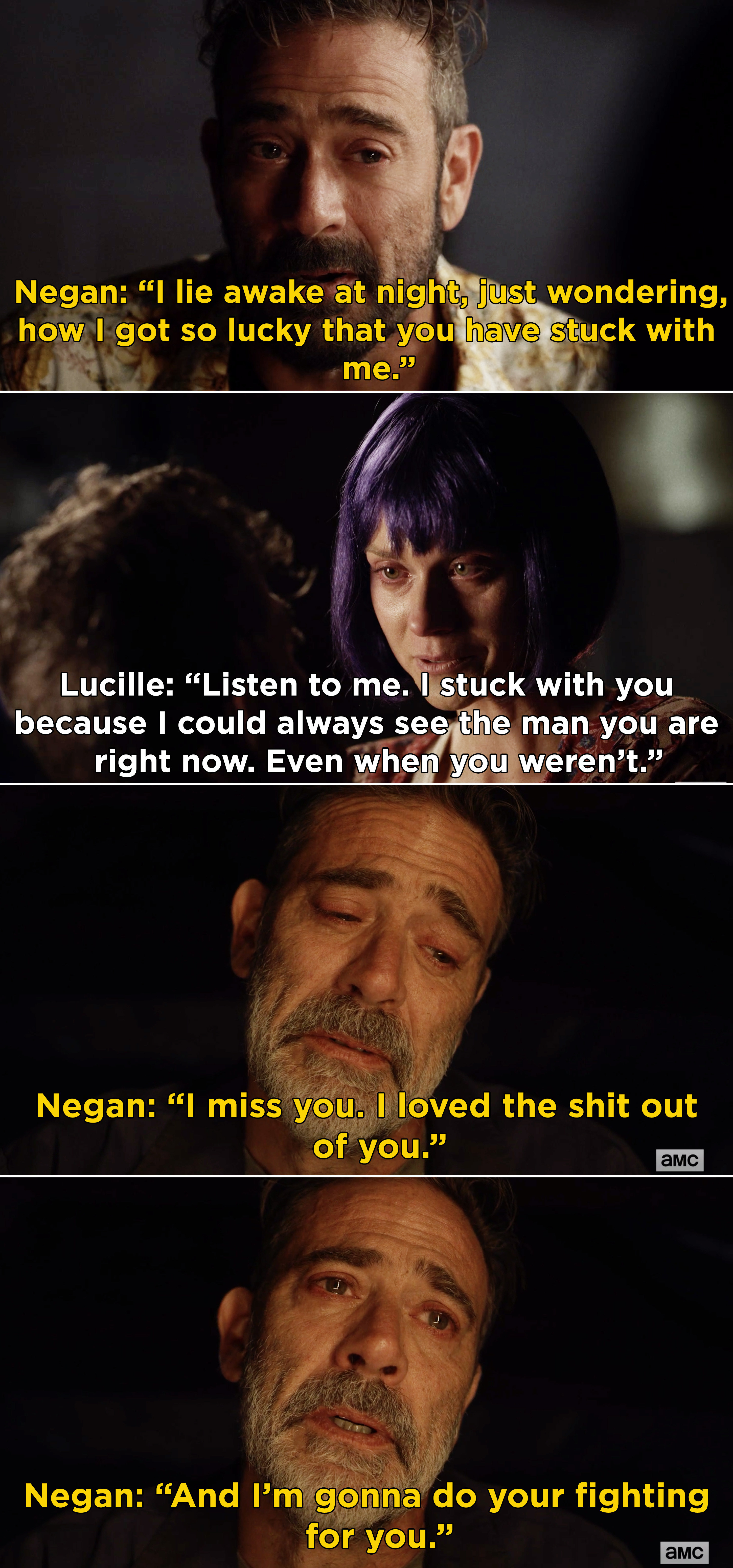 """Lucille telling Negan she stuck with him because she always saw """"the man you are right now"""" and Negan saying that he's going to fight for her"""