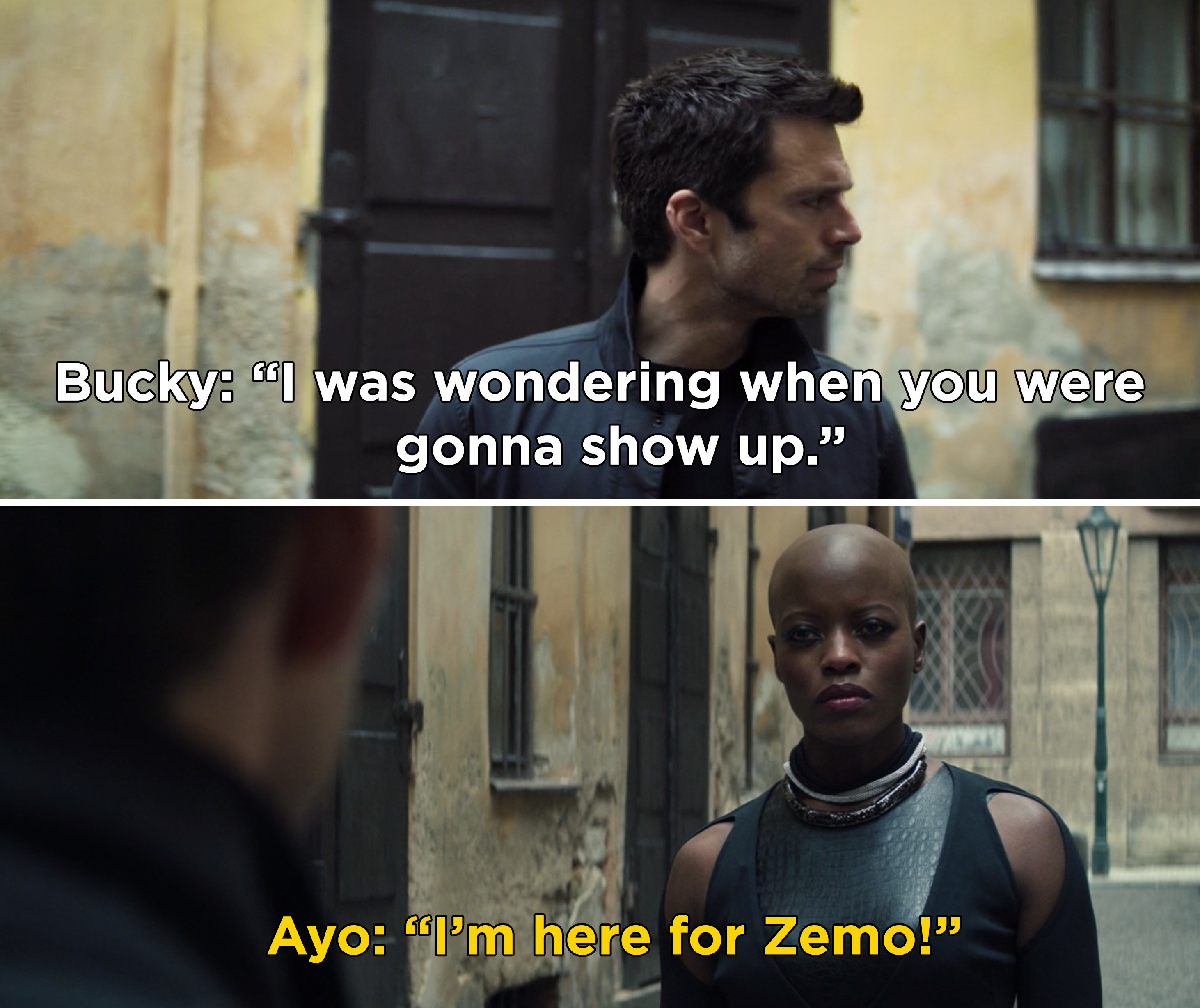 """Bucky saying, """"I was wondering when you were gonna show up"""" and Aya responding, """"I'm here for Zemo"""""""