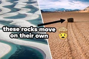 a traveling rock leaving tracks in the desert