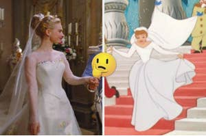 Side by side images of ive action Cinderella and animated Cinderella in their wedding gowns