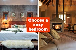 """""""Choose a cozy bedroom"""" with a bedroom with a big bed, a bunch of pillows, and two tiny windows, and a bigger bedroom with a fireplace and a vaulted ceiling with a big window"""
