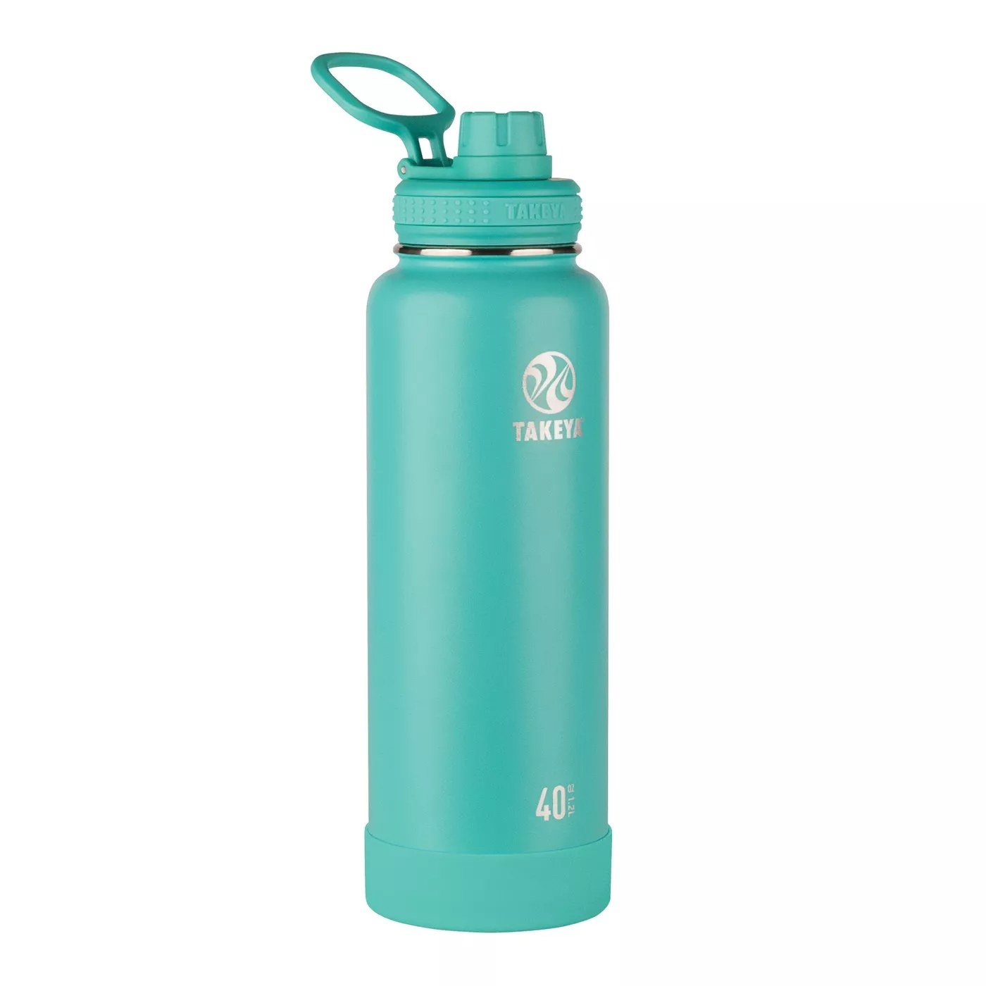 The teal water bottle
