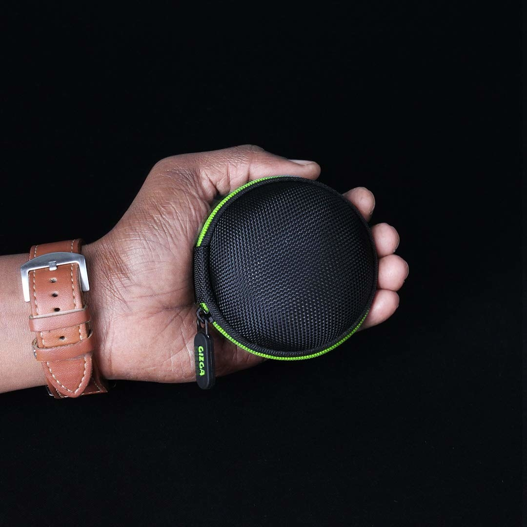 A black and lime green case for earphones.