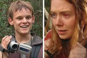 Left: Simon holding up his camcorder while in the Australian bush; Right: A closeup of Shona showing that her left eye has turned red