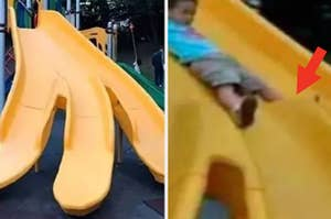 A photo of a slide that is dangerously designed so kids can cram their crotch into a beam