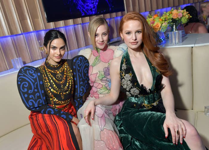 (L-R) Camila Mendes, Lili Reinhart, and Madelaine Petsch attend the 2020 Vanity Fair Oscar Party