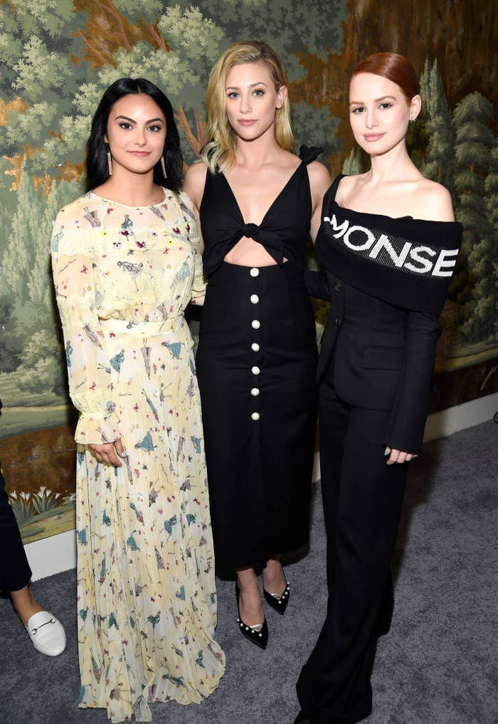 Camila Mendes, Lili Reinhart and Madelaine Petsch attend The CW Network's 2018 upfront