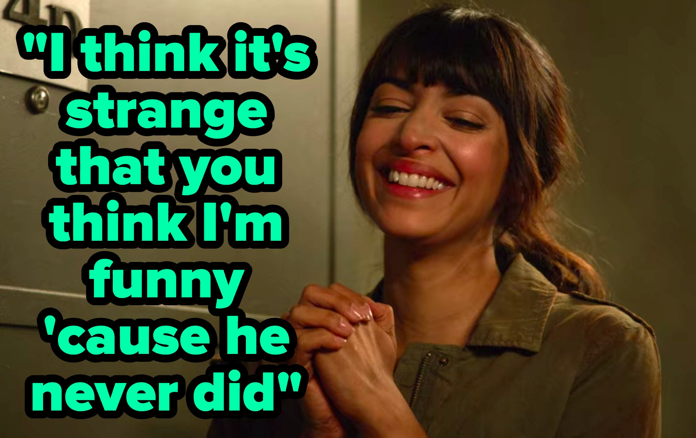 """""""I think it's strange that you think I'm funny 'cause he never did"""" written over Cece from """"New Girl"""" grinning"""