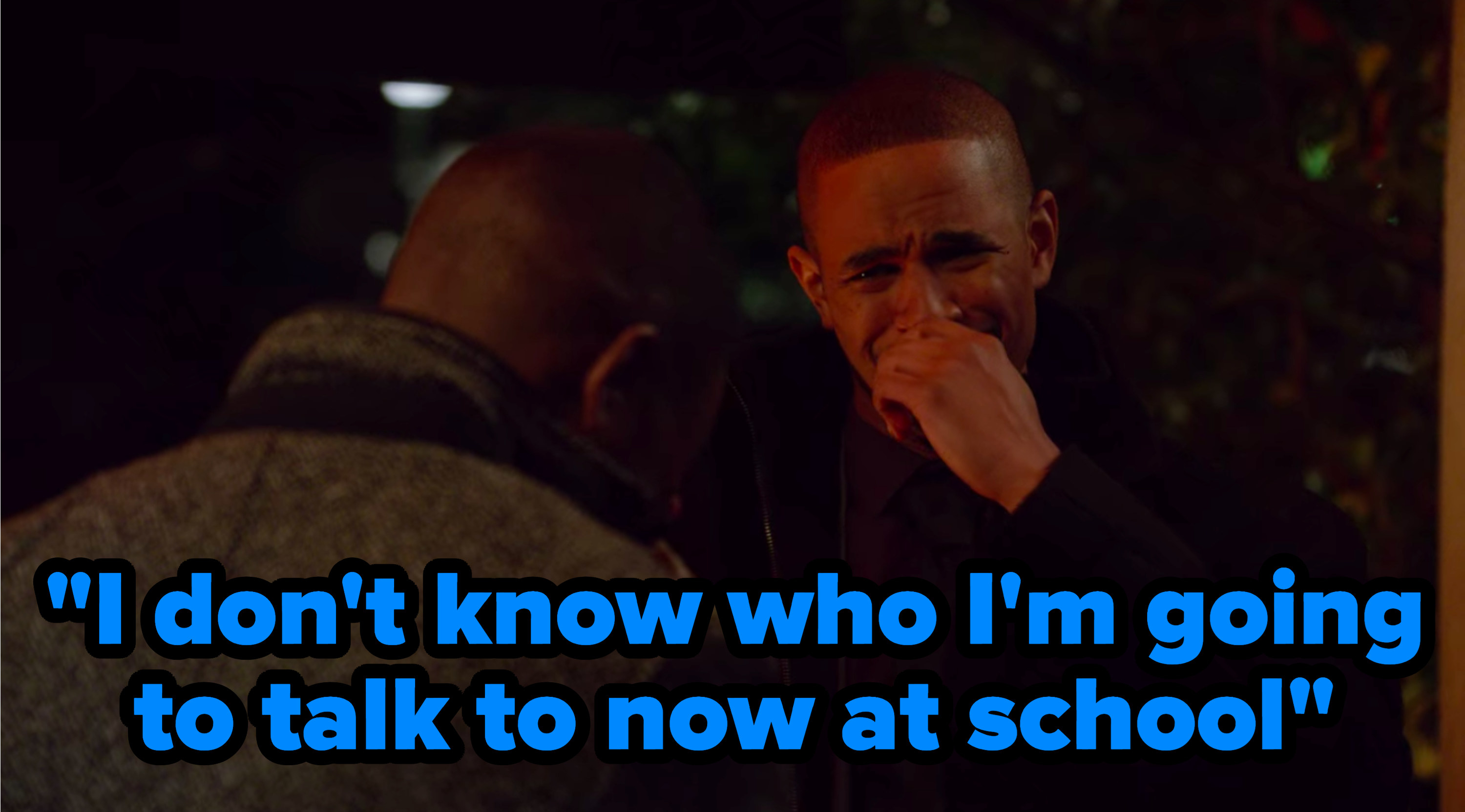 """""""I don't know who I'm going to talk to now at school"""" written over Coach from """"New Girl"""" crying"""