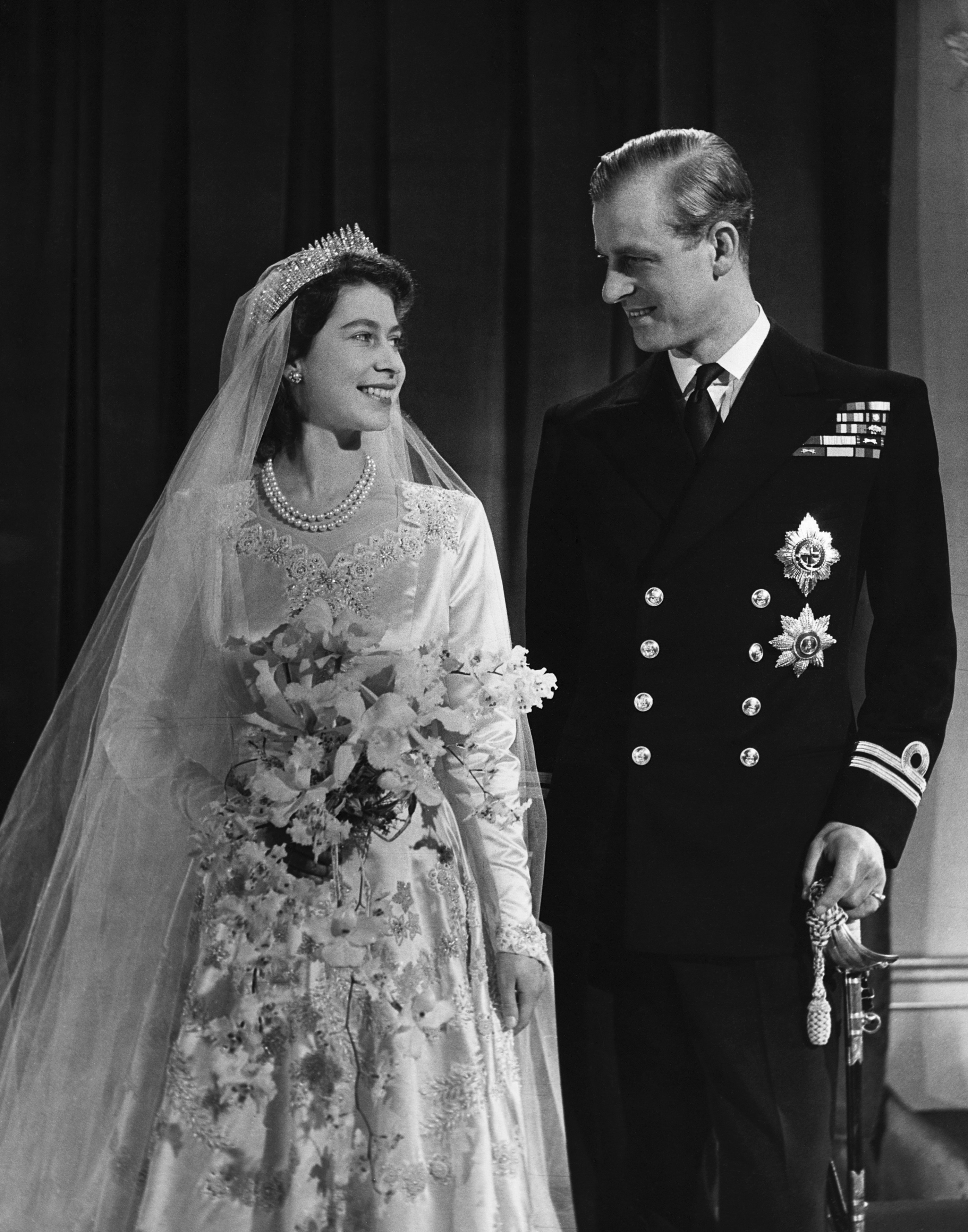 A wedding photo of the queen and her husband