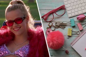 """Reese Witherspoon as Elle Woods in the movie """"Legally Blonde"""" and a desk is covered in school type items such as paper holds, a notebook, a keyboard, and glasses."""