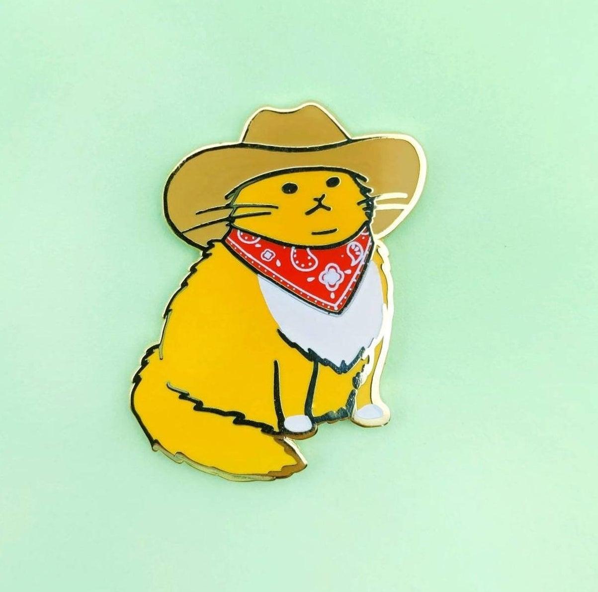 a cowboy cat pin