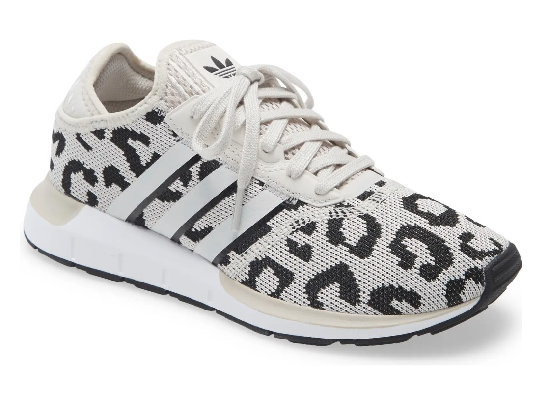 The cheetah-print Adidas running shoes