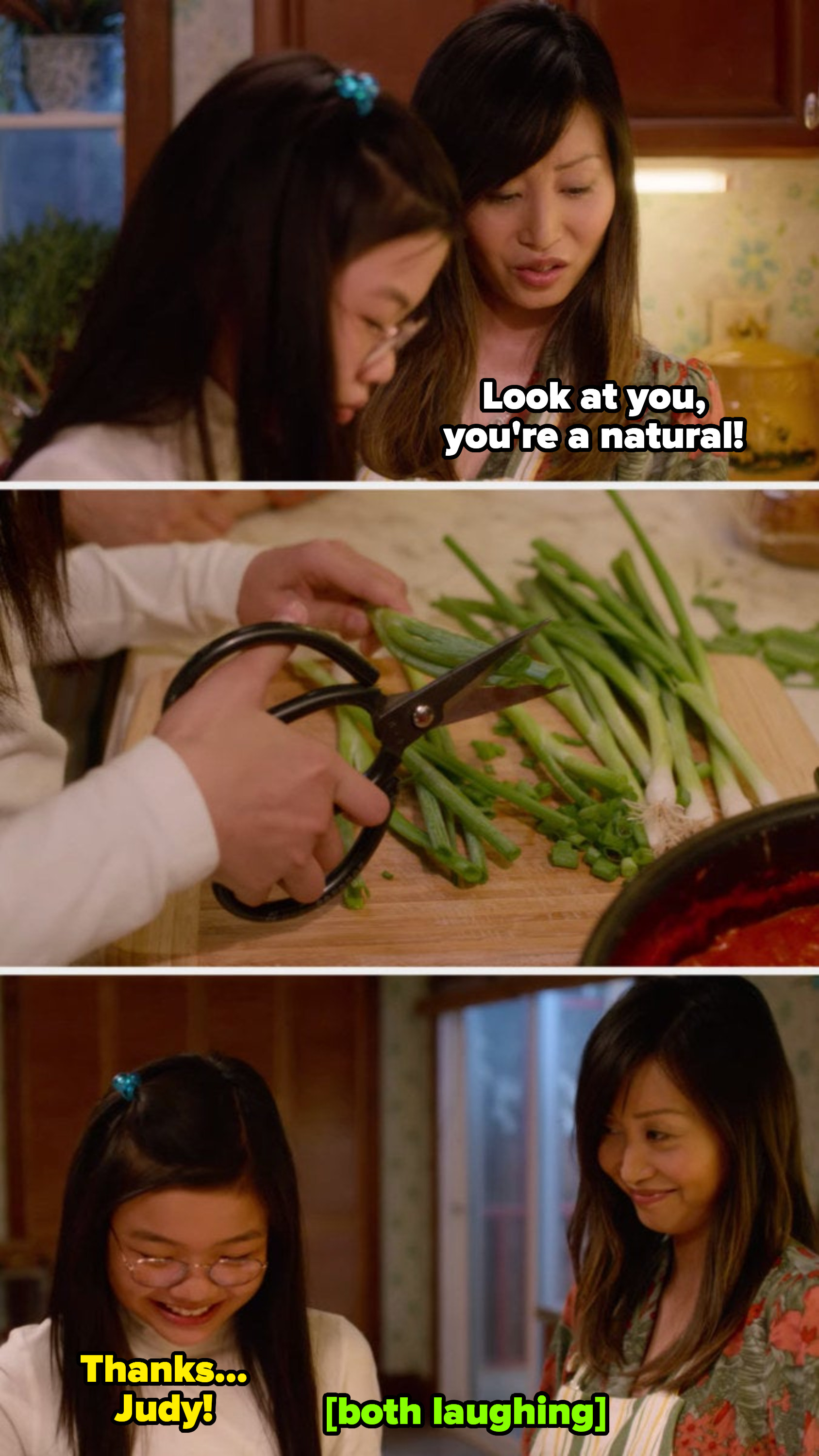 """Sasha cutting green onions as Judy tells her with love: """"Look at you, you're a natural!"""""""