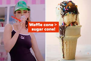 "Selena Gomez is on the left eating ice cream with a cone on the right labeled, ""Waffle cone > sugar cone!"""