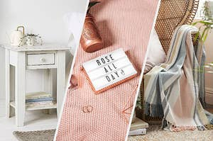 A small table beside a bed, A cinema lightbox that says rosé all day, A blanket draped on the arm of a wooden chair
