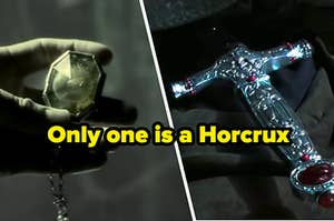"Locket and sword with text, ""Only one is a Horcrux"""