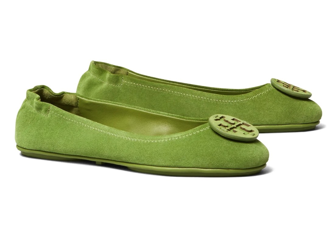 The green suede Tory Burch Flats