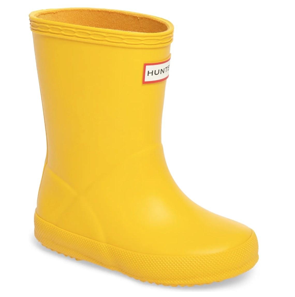 The yellow Hunter Rain Boots