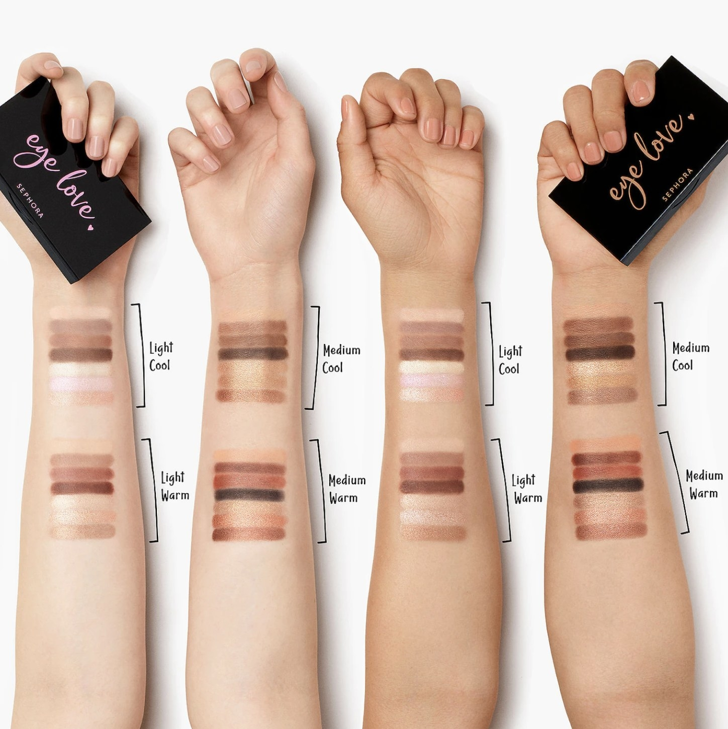 Four arms with different eye shadow shades applied to them