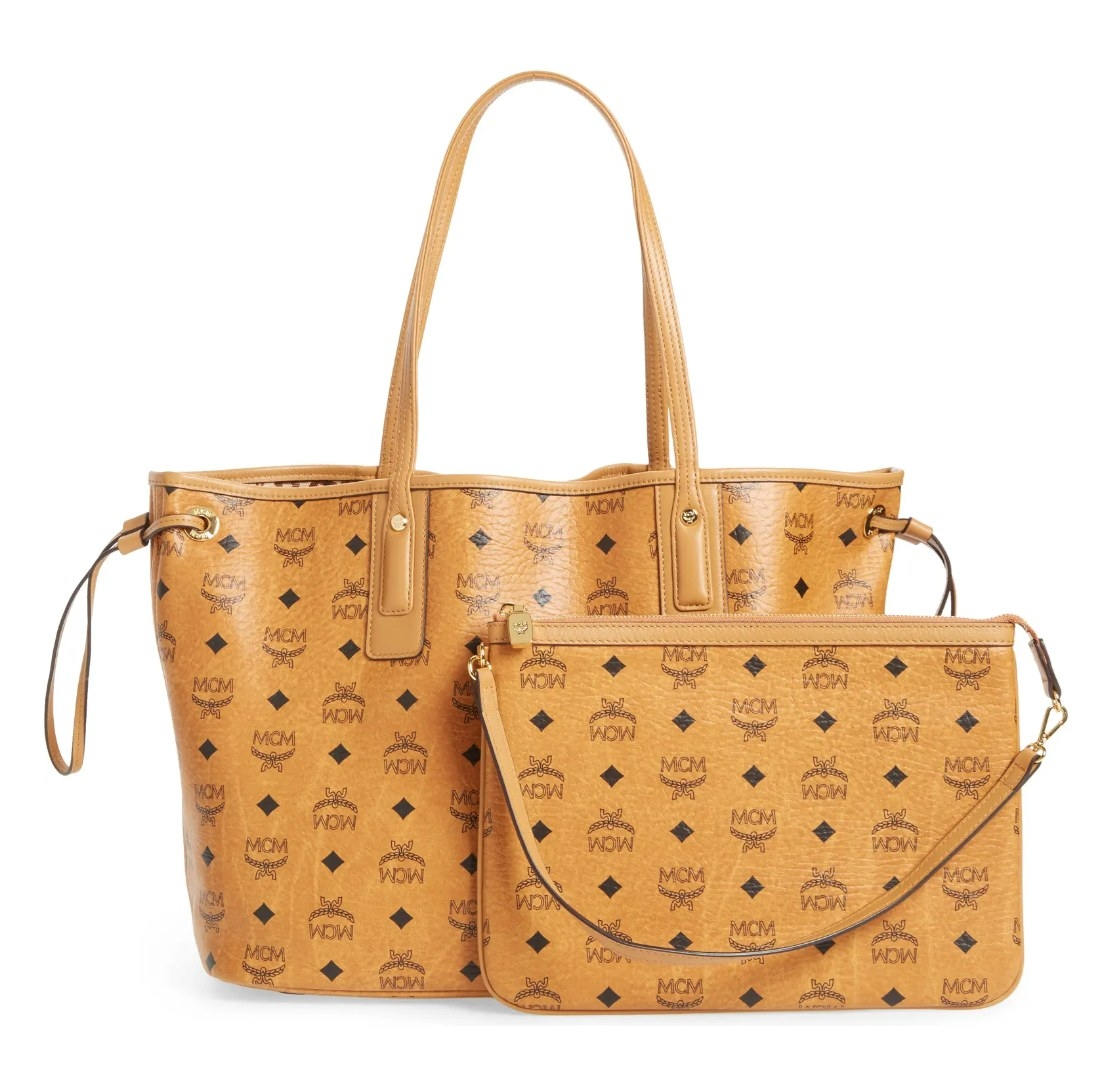 The MCM tote with removable pouch