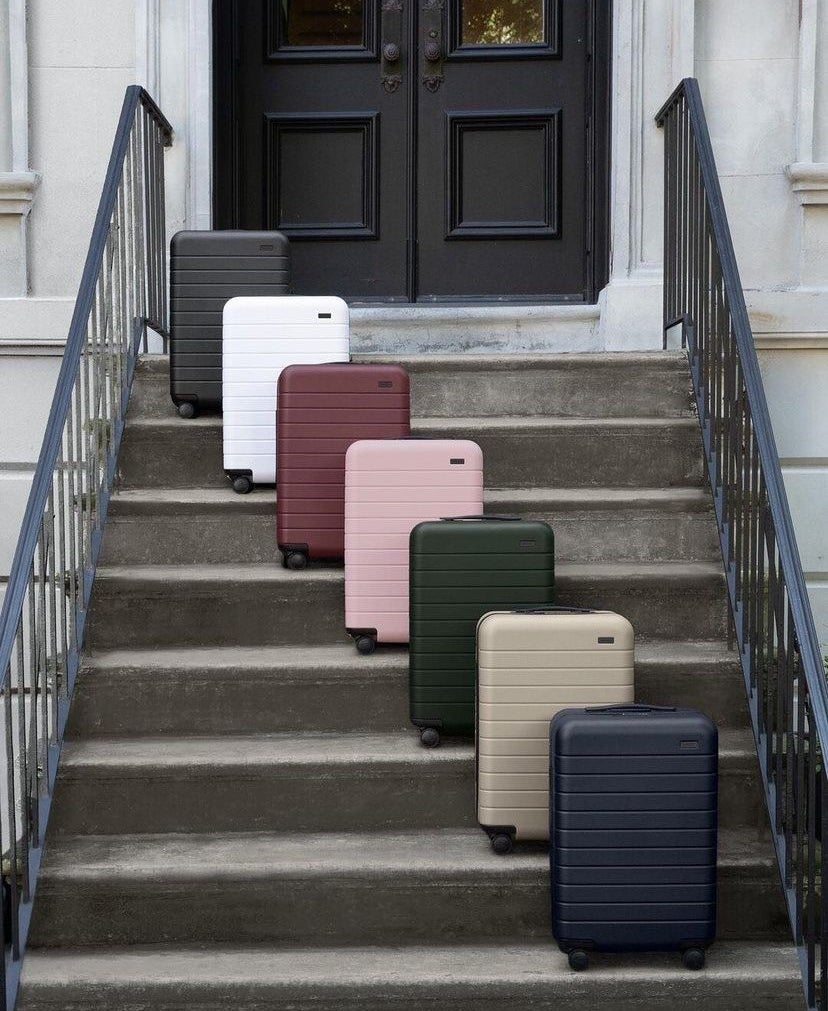The hard shell suitcases in multiple colors