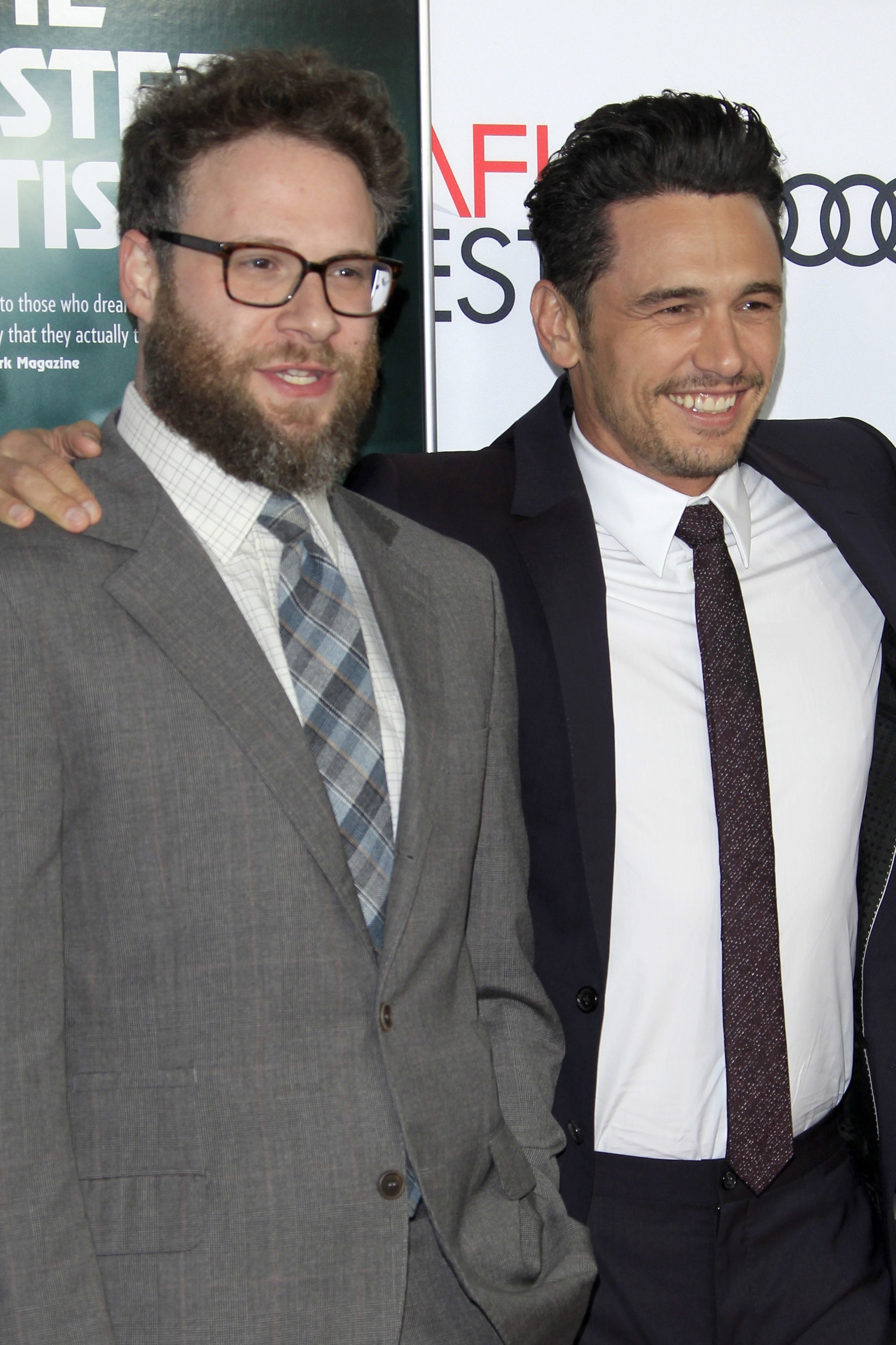 Seth and James posing on a red carpet together