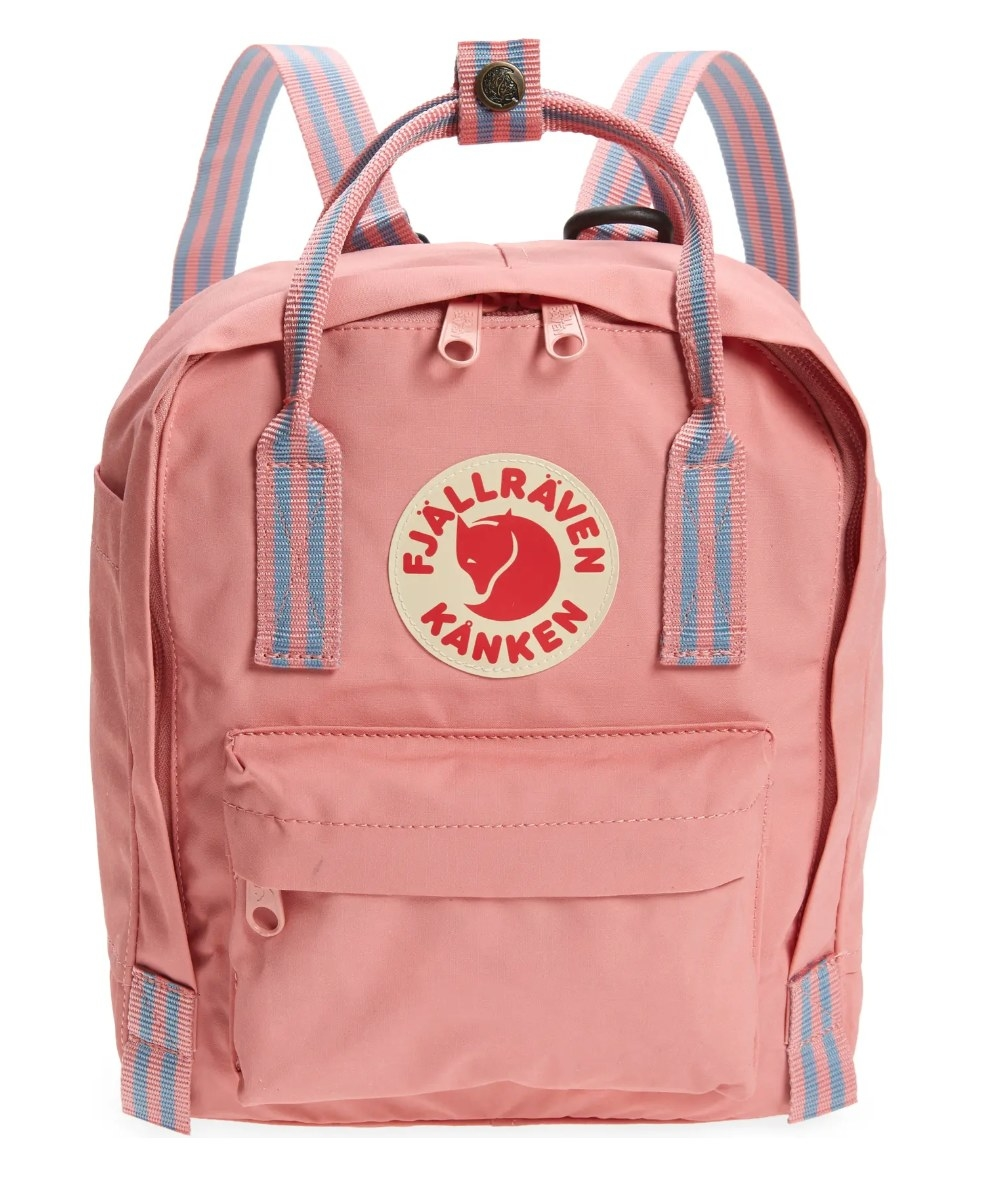 The pink Fjallraven mini backpack