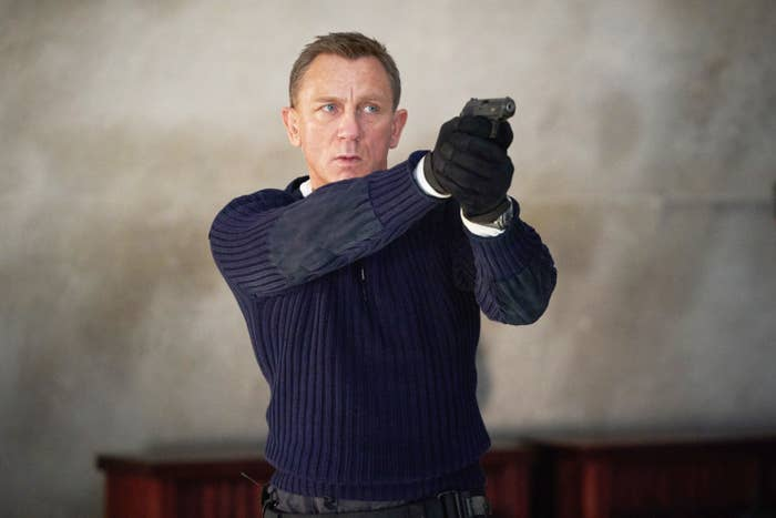 James Bond pointing a gun