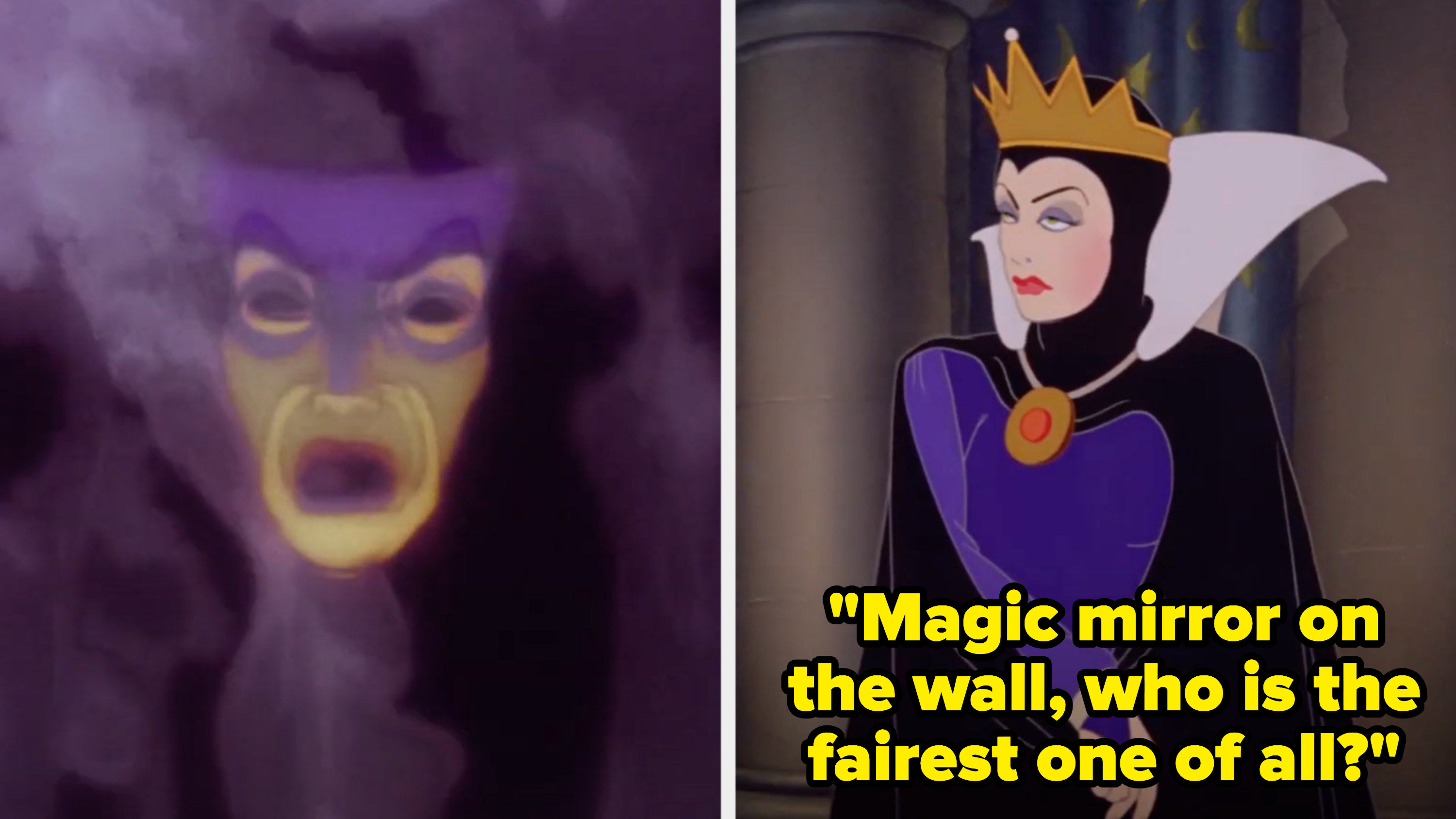 """The Evil Queen asking the Magic Mirror: """"Magic mirror on the wall, who is the fairest one of all?"""""""
