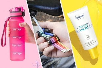 water tracking stickers, colourful bike tool, unseen sunscreen