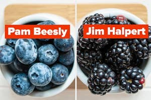 """A bowl of blueberries are on the left labeled, """"Pam Beesly"""" with blackberries on the right labeled, """"Jim Halpert"""""""
