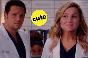 "Justin Chambers as Alex Karev and Jessica Capshaw as Arizona Robbins in the show ""Grey's Anatomy."""