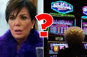 Kris Jenner looking shocked, and someone gambling